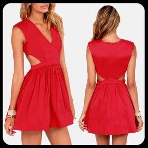 LuLu's Brat Pack Cutout Red Dress